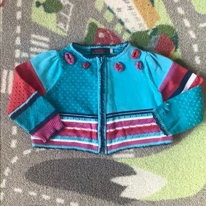 Catimini Knit Sweater Toddler Girl 18m Blue Red